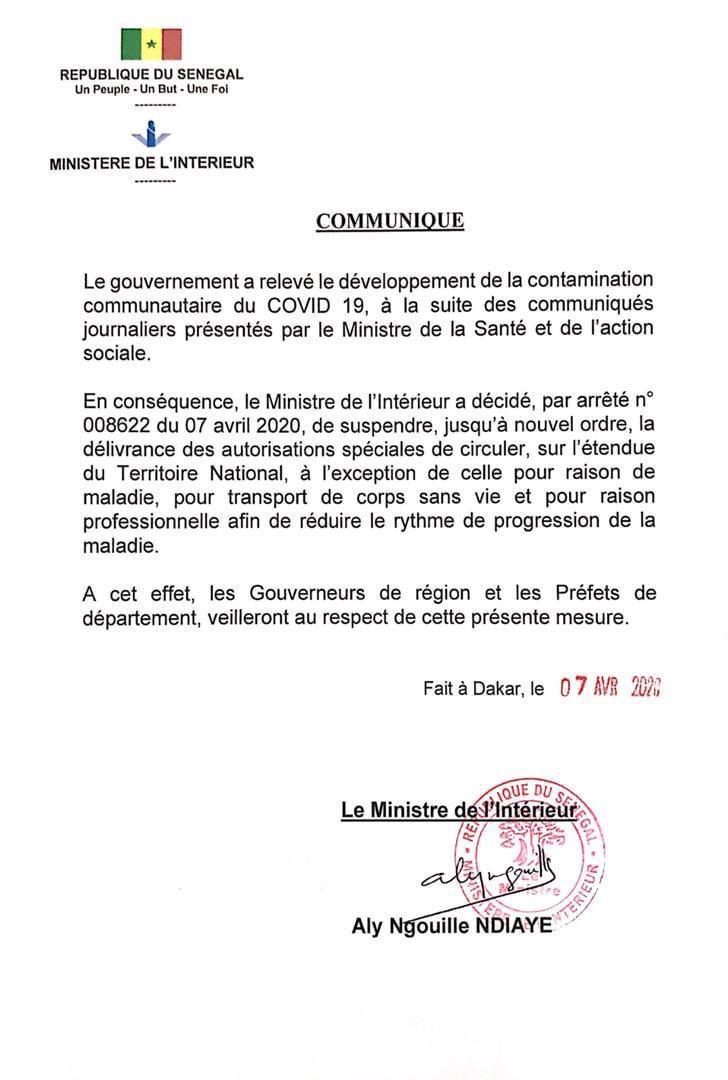 Lutte contre la propagation des Cas communautaires: Aly Ngouille Ndiaye suspend la délivrance des autorisations de circuler sur le territoire sauf pour...