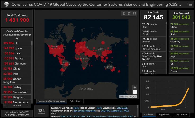 Coronavirus: la situation dans le monde, prés de 2000 morts aux Etats Unis en 24 heures
