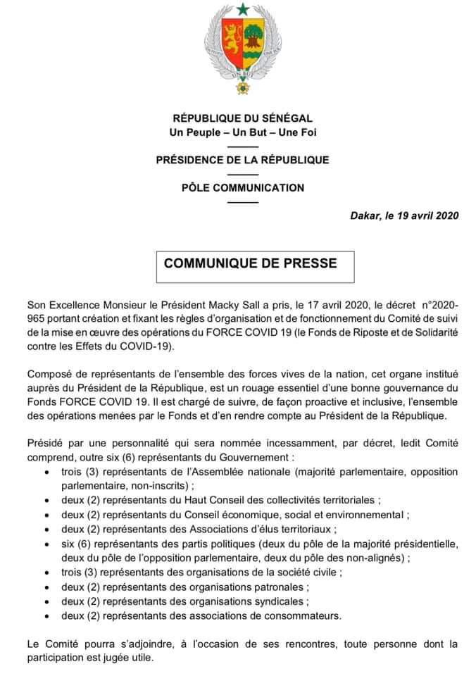 FORCE COVID 19 : décret portant création et fixant les règles d'organisation et de fonctionnement du Comité de suivi