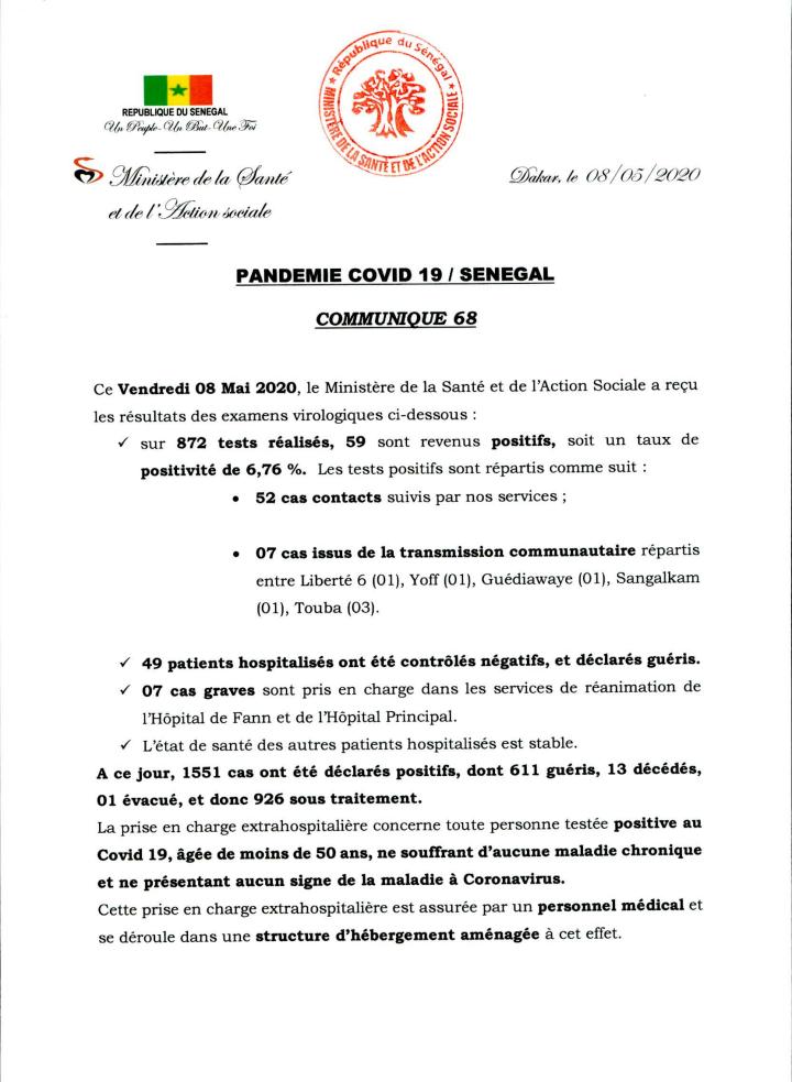 #Covid_19sn - 7 cas graves annoncés par le ministère de la Santé ce vendredi