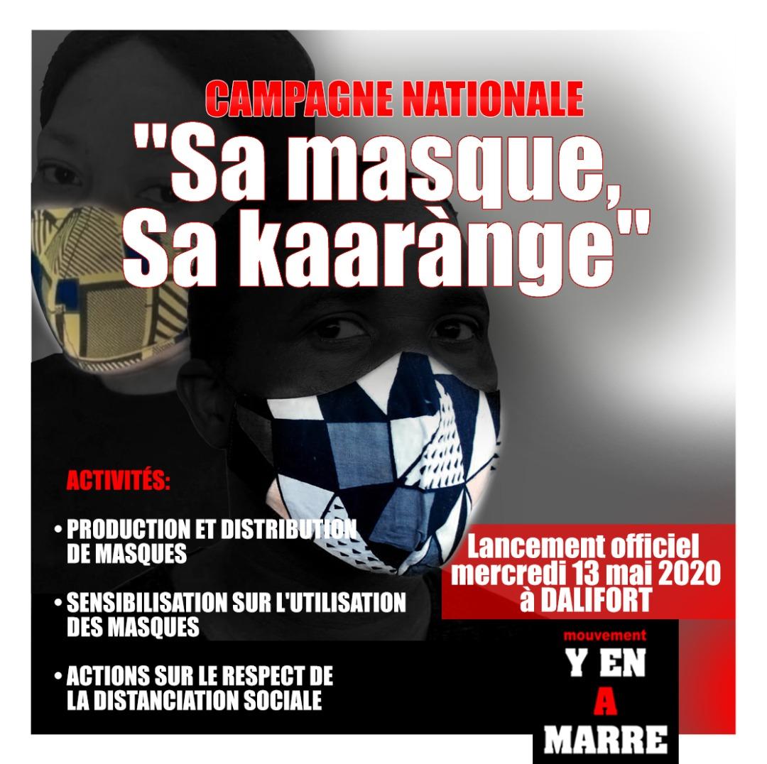 """Y'en A Marre lance demain mercredi la campagne """"SA MASQUE, SA KAARÀNGE"""": 50 000 masques seront distribués dans tout le pays"""