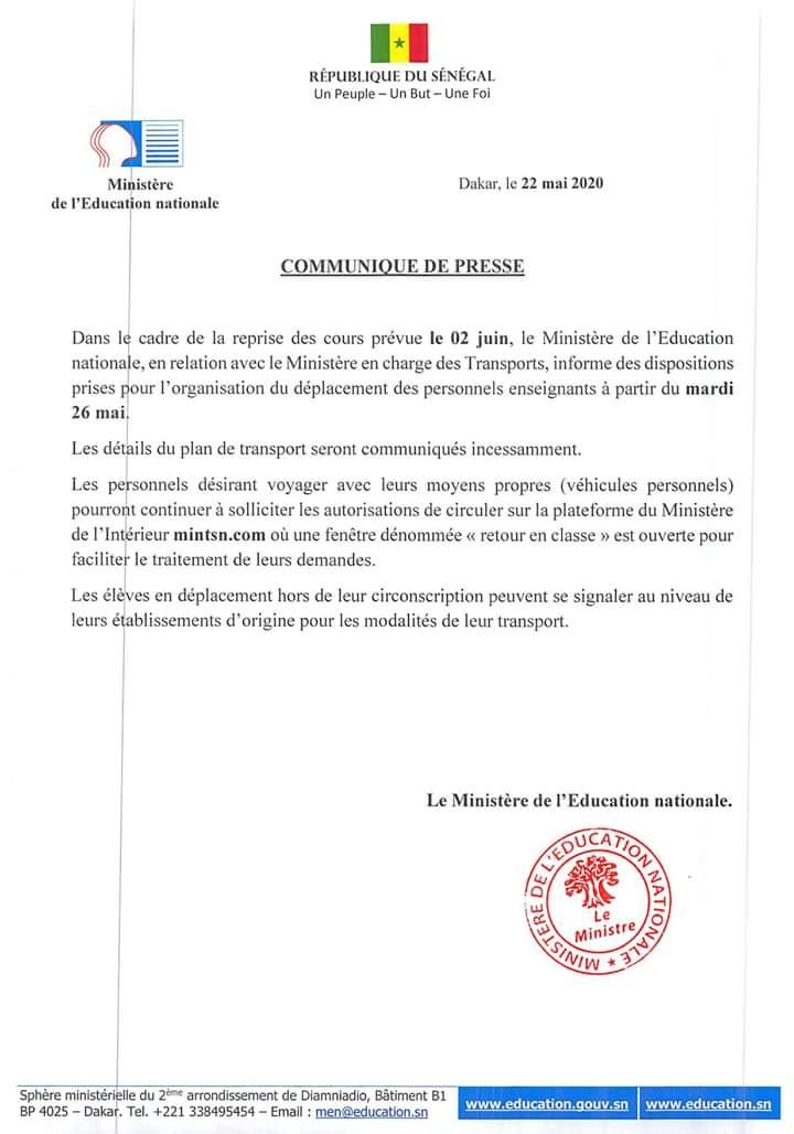 Reprise des cours : des dispositions prises pour le déplacement des personnels enseignants à partir de mardi (ministre)