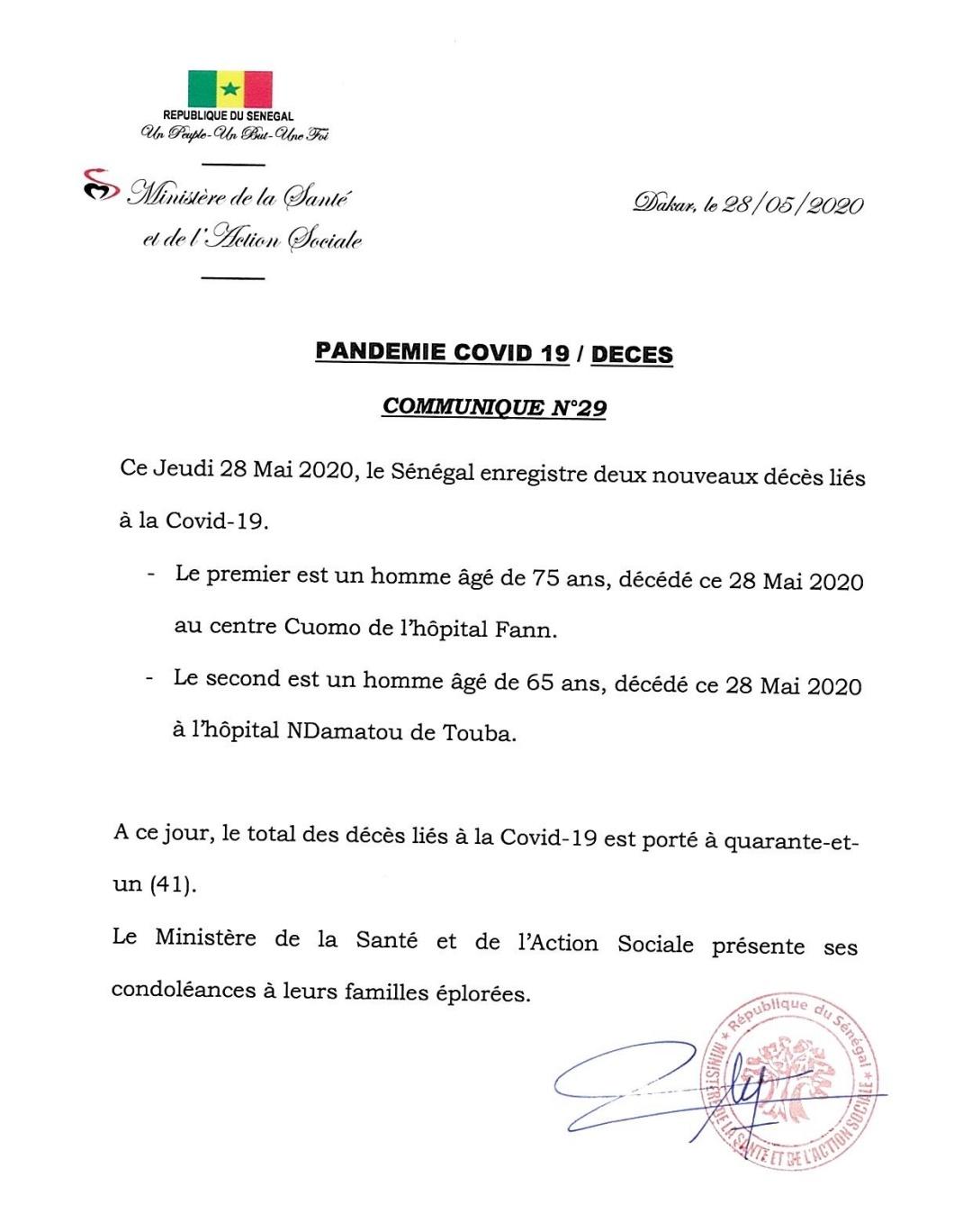 Coronavirus au Sénégal : deux décès supplémentaires, soit un total de 41 au 28 mai