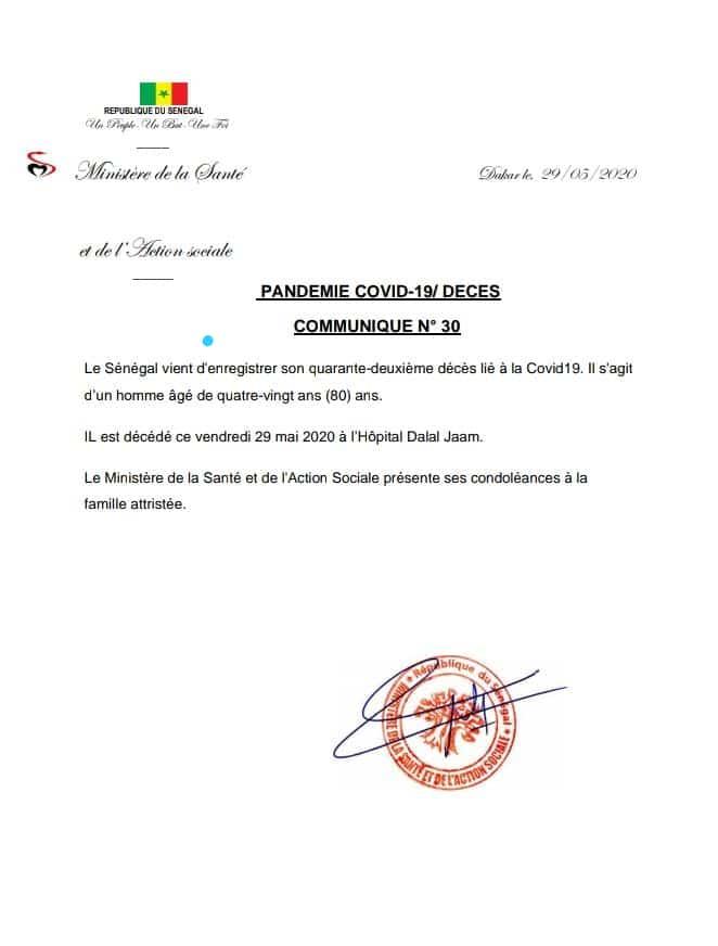 Le Sénégal enregistre son 42e décès lié à la COVID19
