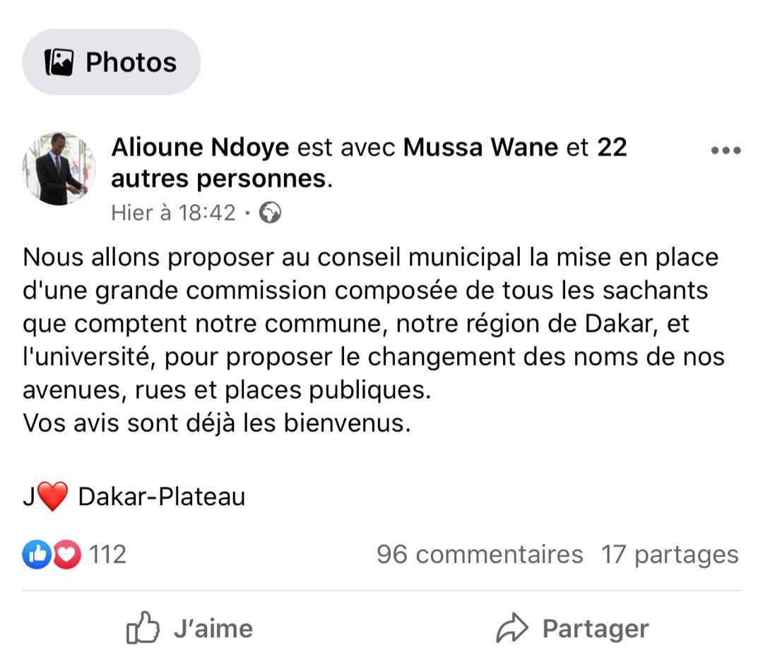 Changement des noms des avenues, rues et places publiques de Dakar : Alioune Ndoye annonce une Commission