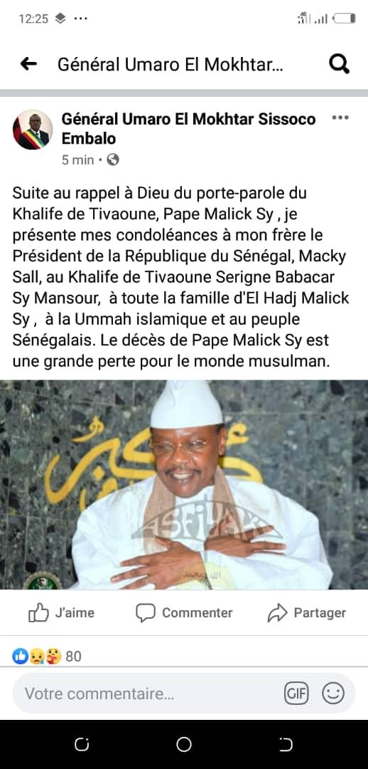 Rappel à Dieu de Serigne Pape Malick Sy : les condoléances du président guinéen Umao Mokhtar Cissoco