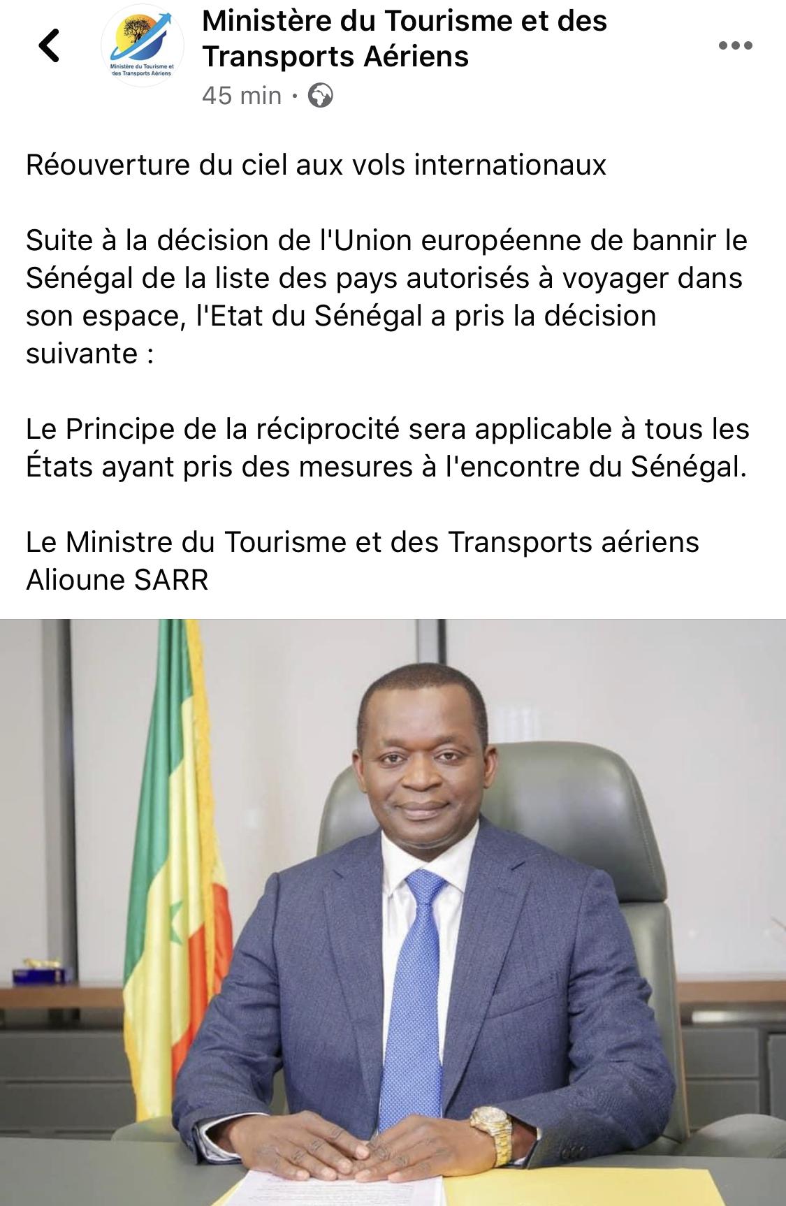 Le Sénégal ferme ses frontières aériennes aux pays de l'Union européenne
