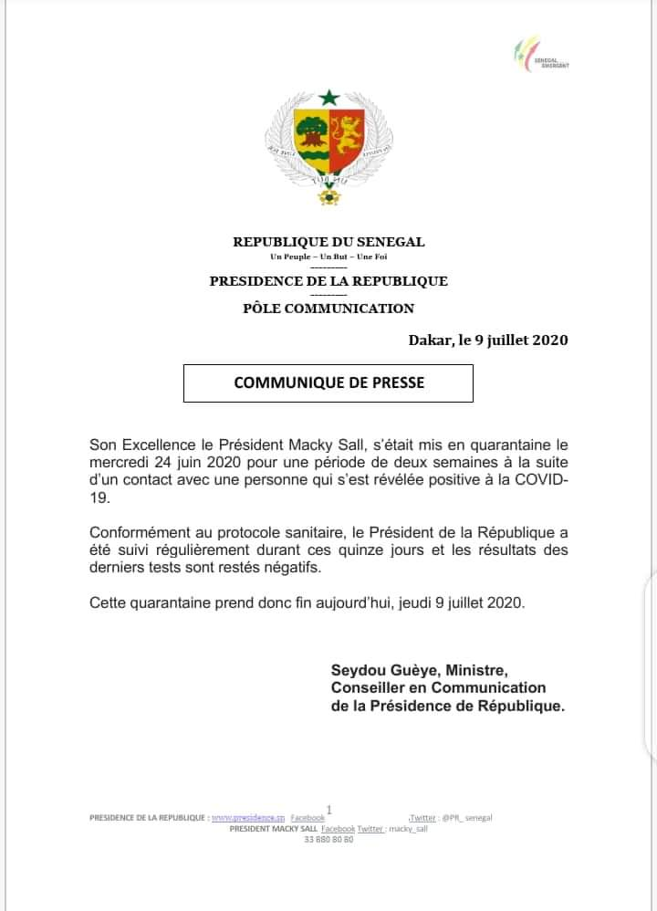 #Covid-19: le président Macky Sall est sorti de sa mise en quarantaine, les tests effectués sur lui sont revenus négatifs (communiqué)