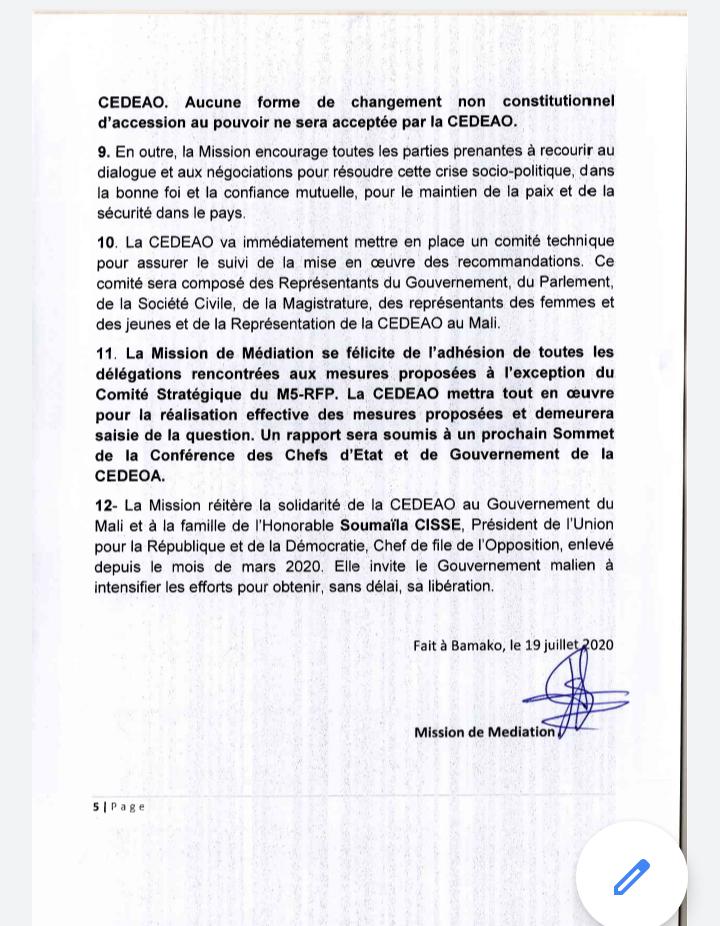 Sortie de crise au Mali : déclaration de la mission de médiation de la CEDEAO (documents)