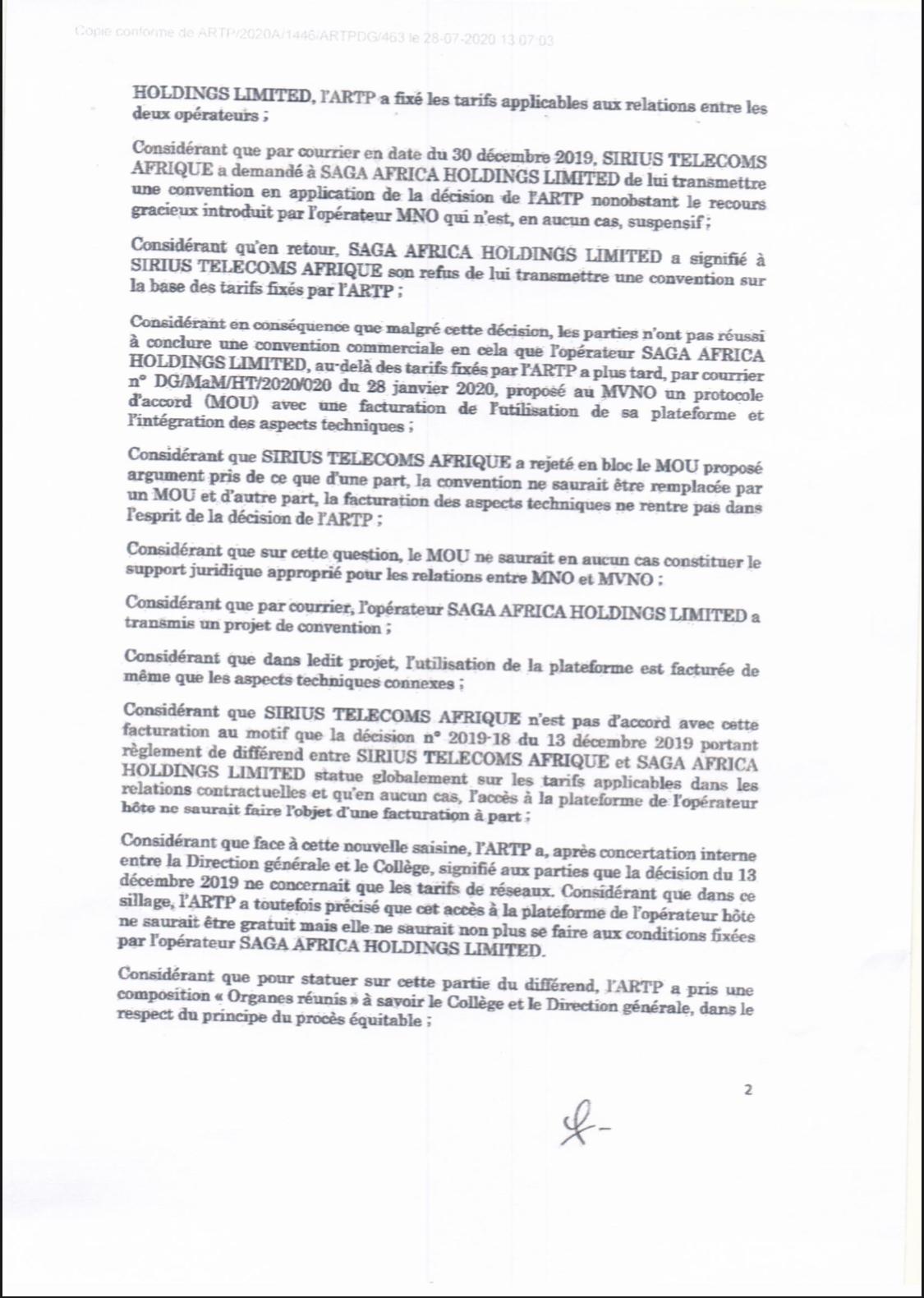 L'ARTP inflige à l'opérateur Saga africa Holding Limited une astreinte de 2% sur son chiffre d'affaires journalier (Document)