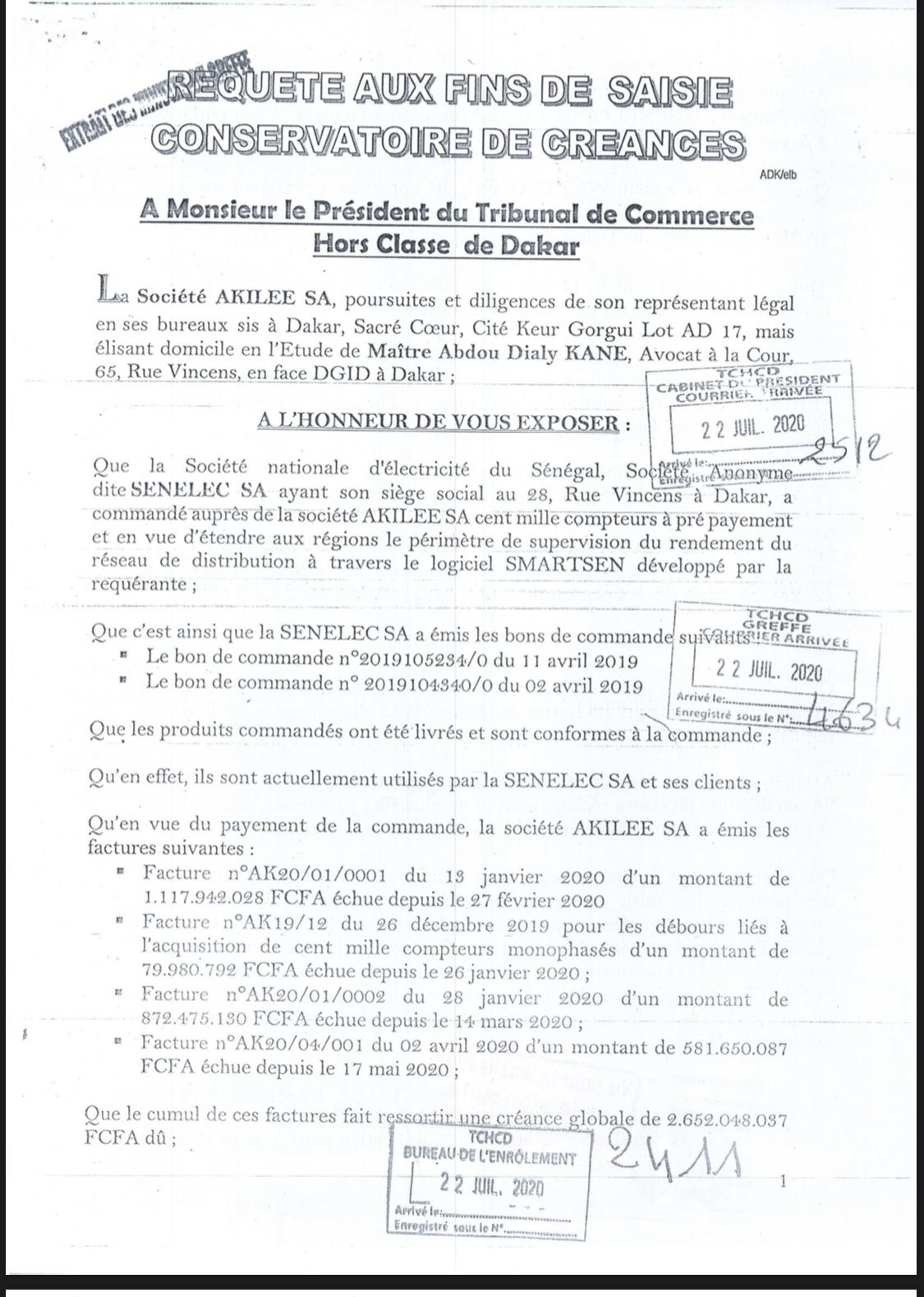 Refus de paiement d'une dette estimée à 2,6 milliards F Cfa : Akilee bloque les comptes de la Senelec