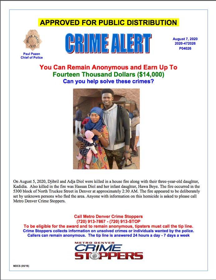 La police de Denver met une récompense de 14 000 dollars pour des infos sur les auteurs de l'incendie qui a tué 5 Sénégalais