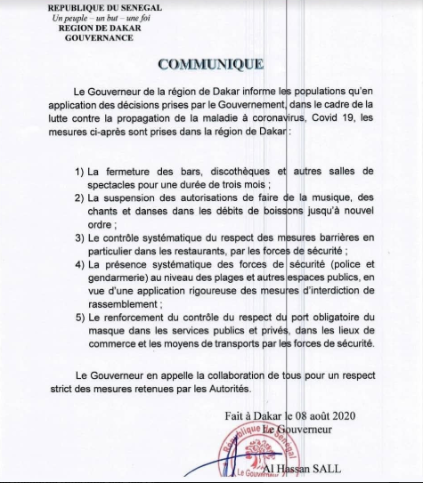 Fermeture des bars, discothèques et autres : le gouverneur de la région de Dakar sort son arrêté