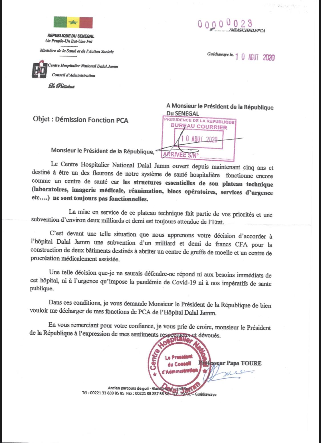 Hôpital Dalal Jamm: le PCA dit ses vérités au Président avant de claquer la porte (Document)