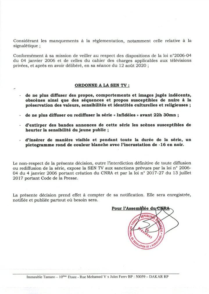 Le CNRA censure la série INFIDÈLE et met en garde la SÉN TV (Document)