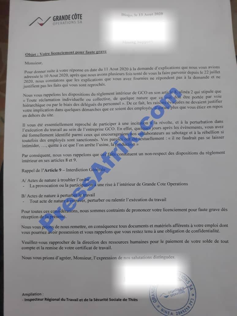 La Lettre de licenciement servie au même employé le 13 août 2020