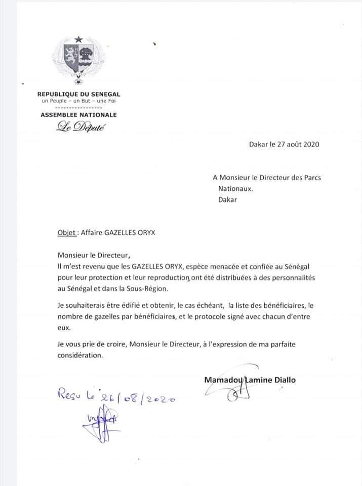 Gazelle oryx : Mamadou Lamine Diallo interpelle le gouvernement (documents)