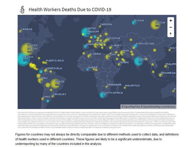 Carte interactive représentant le nombre de décès à travers le monde.