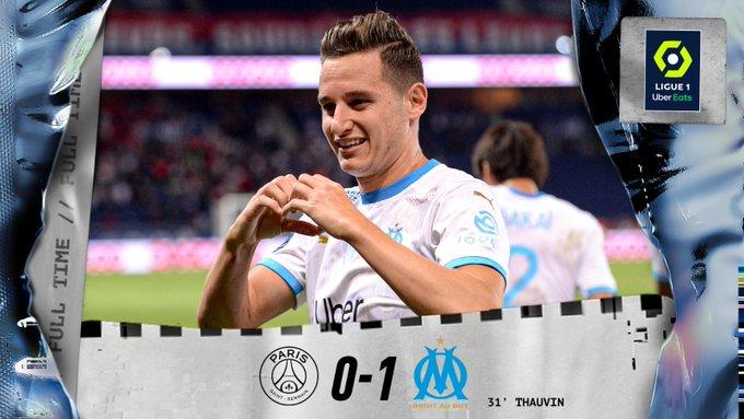 Ligue 1: l'OM gagne à Paris et met fin à la longue série d'invincibilité du PSG contre lui