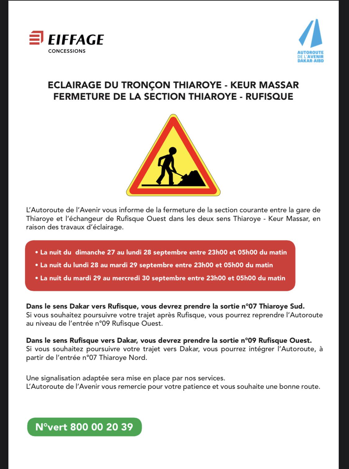 Travaux d'éclairage tronçon Thiaroye-Keur Massar: Jours et heures de fermetures de la section Thiaroye-Rufisque (Autoroute de l'Avenir)