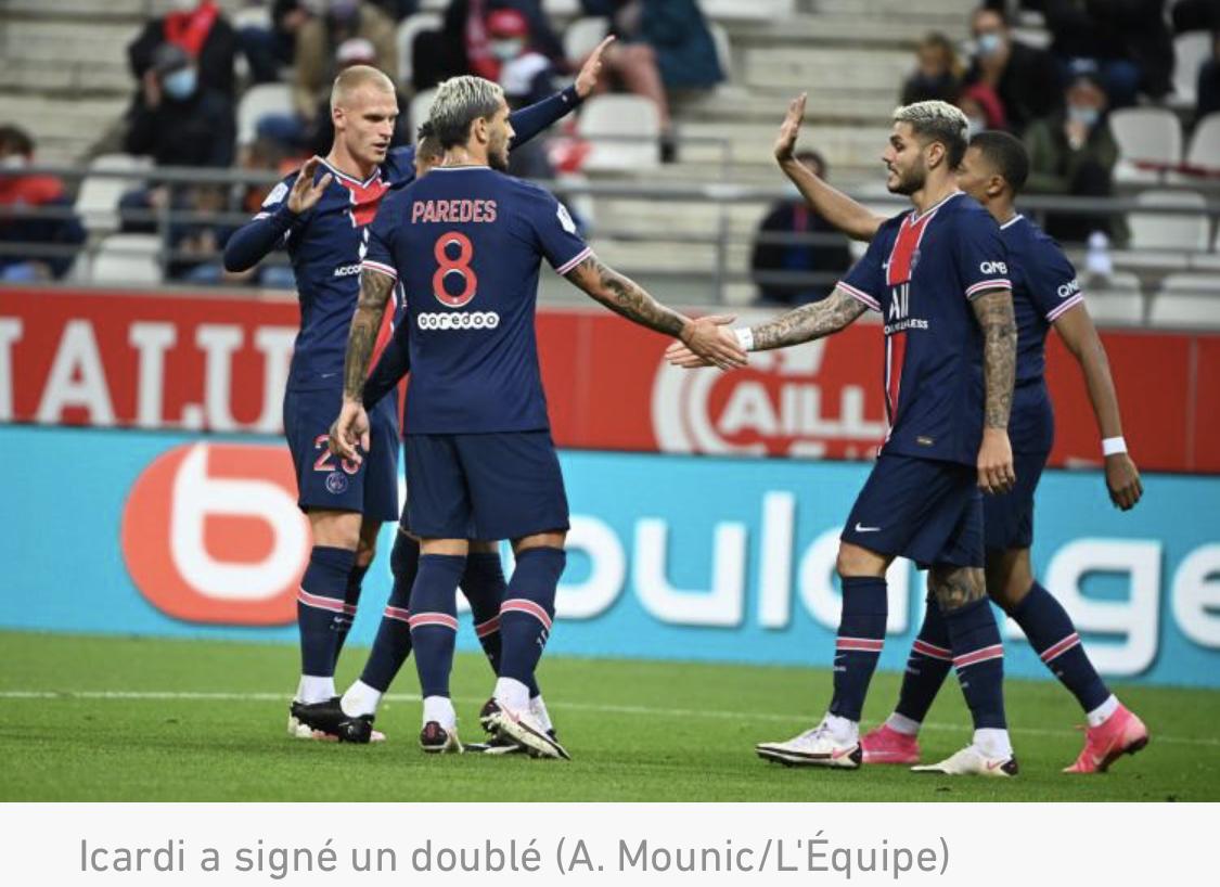 Ligue 1 : le PSG gagne aisément à Reims et poursuit sa remontée grâce à Icardi