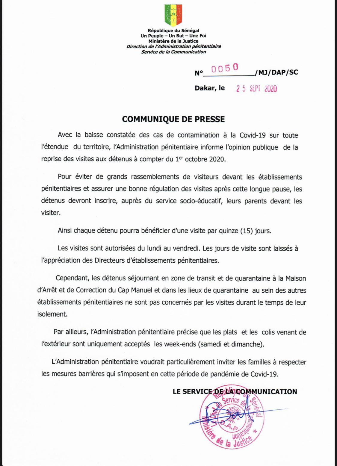 L'administration pénitentiaire annonce la reprise des visites aux détenus
