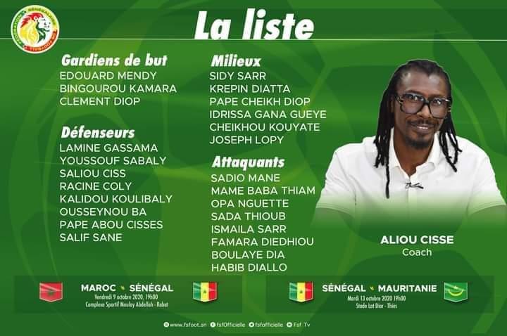 Matchs amicaux : Aliou Cissé convoque 25 joueurs contre le Maroc et la Mauritanie