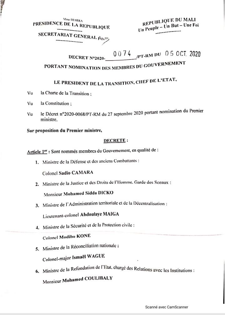 Mali : voici la liste des membres du Gouvernement de la transition