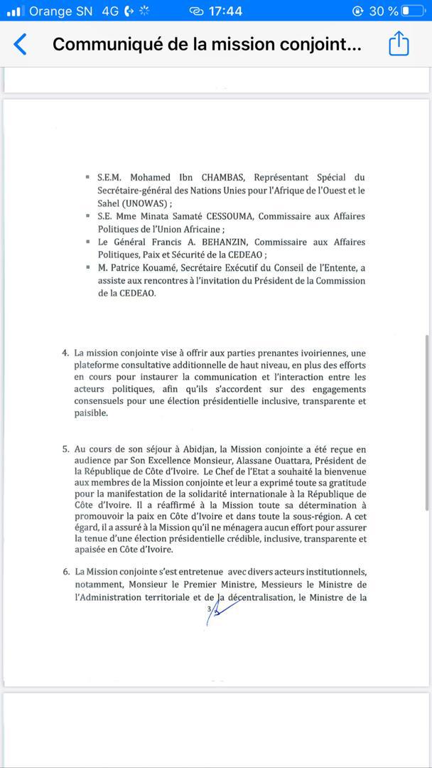 Présidentielle ivoirienne: la mission conjointe de la CEDEAO et l'ONU encouragent les parties prenantes à sécuriser le processus électoral ( Document)