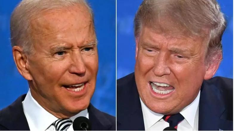 Le candidat démocrate Joe Biden face au président américain Donald Trump, le 29 septembre 2020, lors du premier débat télévisé avant la présidentielle du 3 novembre 2020. JIM WATSON, SAUL LOEB / AFP