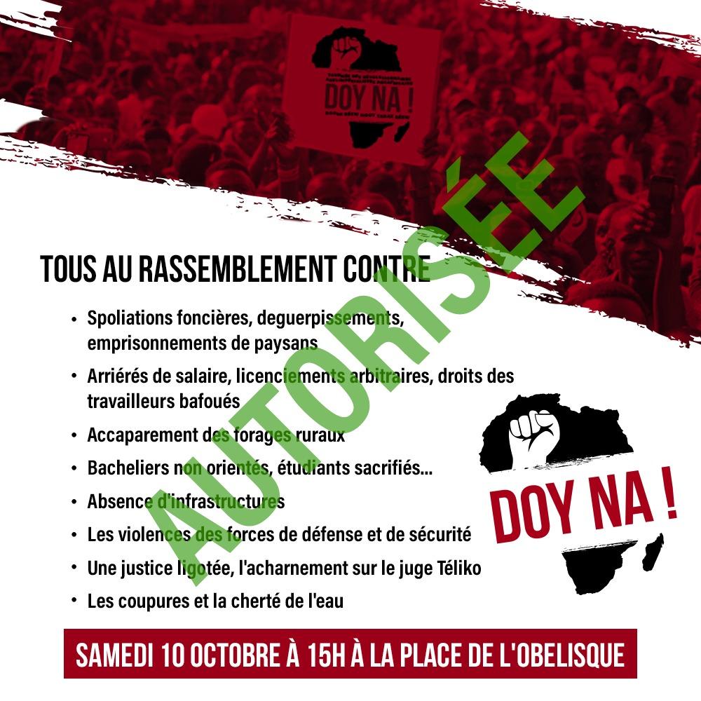 Place de la Nation: La manifestation de la plateforme Doyna autorisée