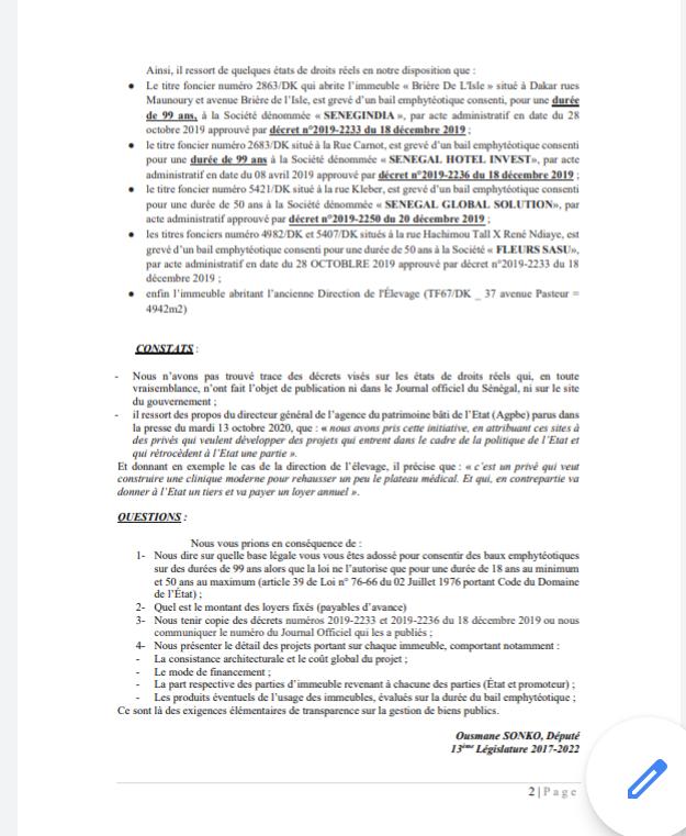 Affaires Terme Sud et cession de biens appartenant à l'Etat: Ousmane Sonko saisit l'Assemblée nationale (Documents)