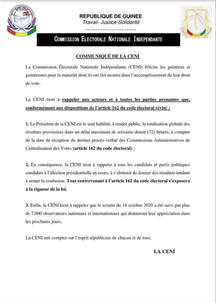 Présidentielle guinéenne : la CENI appelle les candidats à «s'abstenir à donner des résultats tendant à semer la confusion»