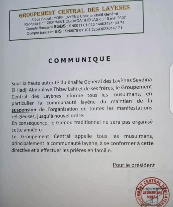 La communauté Layène ne célébrera pas le Gamou 2020