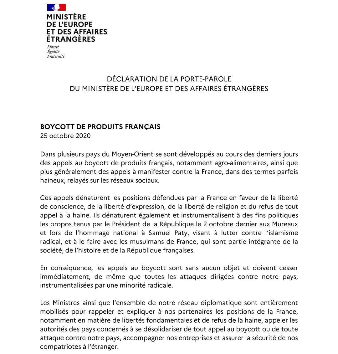 Le ministère des Affaires étrangères demande l'arrêt des appels au boycott des produits français