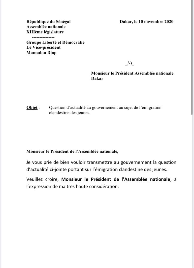 """Emigration clandestine: le député Mamadou Diop """"Decroix"""" dépose une question d'actualité au Gouvernement"""
