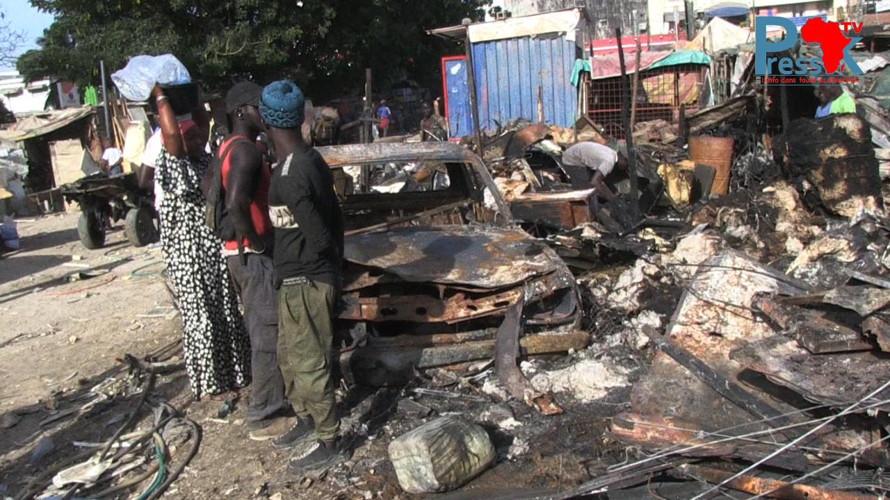 """Incendie au """"Parc Sodida"""": les propriétaires des ateliers brûlés ruminent leur colère et refusent de s'exprimer (Vidéo)"""