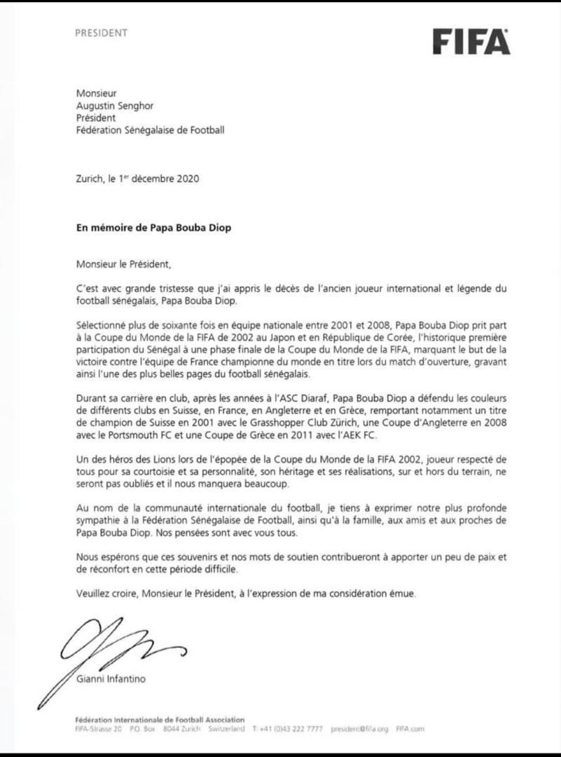 """Gianni Infantino sur Pape Bouba Diop: """"son héritage et ses réalisations ne seront pas oubliés"""""""