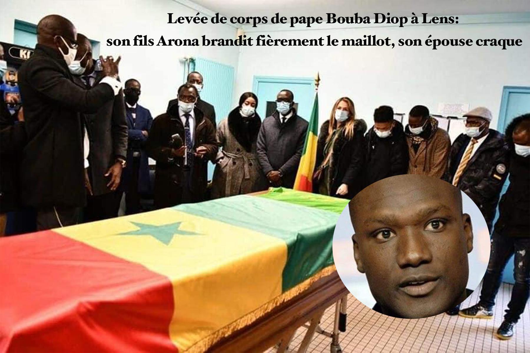 Levée de corps de Pape Bouba Diop à Lens: son fils Arona brandit fièrement le numéro 19, son épouse craque