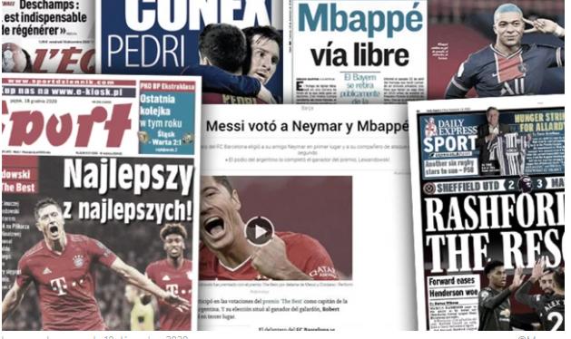 L'Espagne s'étonne du vote de Messi à FIFA The Best, Lewandowski porté en héros en Pologne