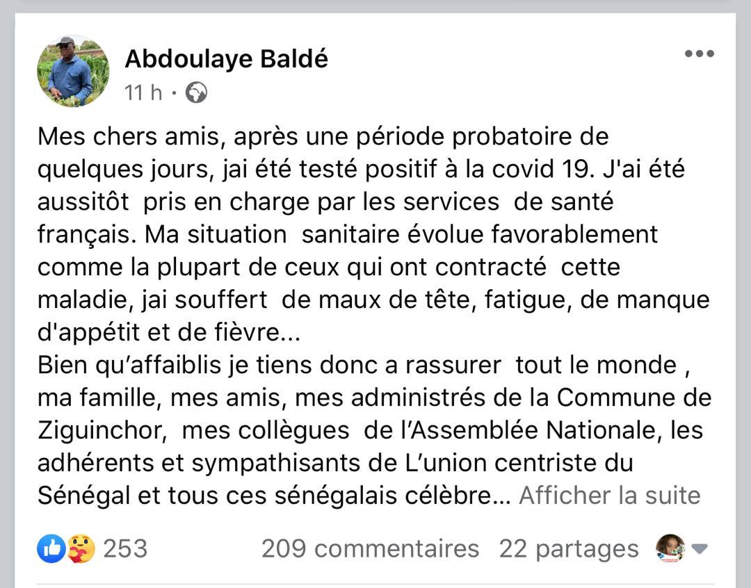 Abdoulaye Baldé testé positif à la Covid-19