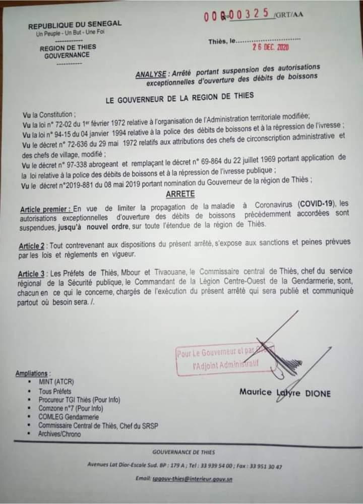 Interdiction ouverture des débits de boisson: le Gouverneur de Thies suit les pas de son collègue de Dakar