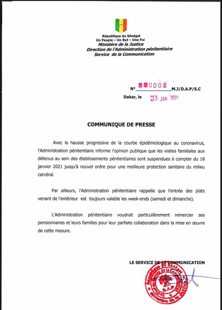 Covid-19: l'administration pénitentiaire suspend encore les visites aux prisonniers