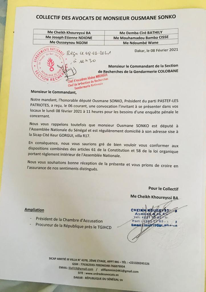 Affaire Ousmane Sonko : ses avocats rappellent le statut de leur client et exigent le respect de la loi (Document)