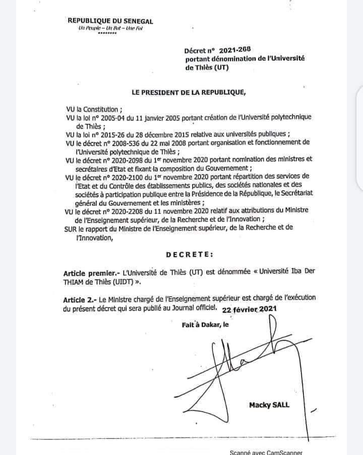 L'Université de Thiès dénommée Université IBA DER THIAM (décret)