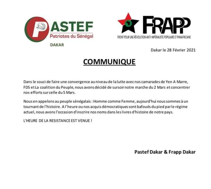 Pastef Dakar et Frapp se joignent au mouvement Y'en a Marre pour manifester le 5 mars