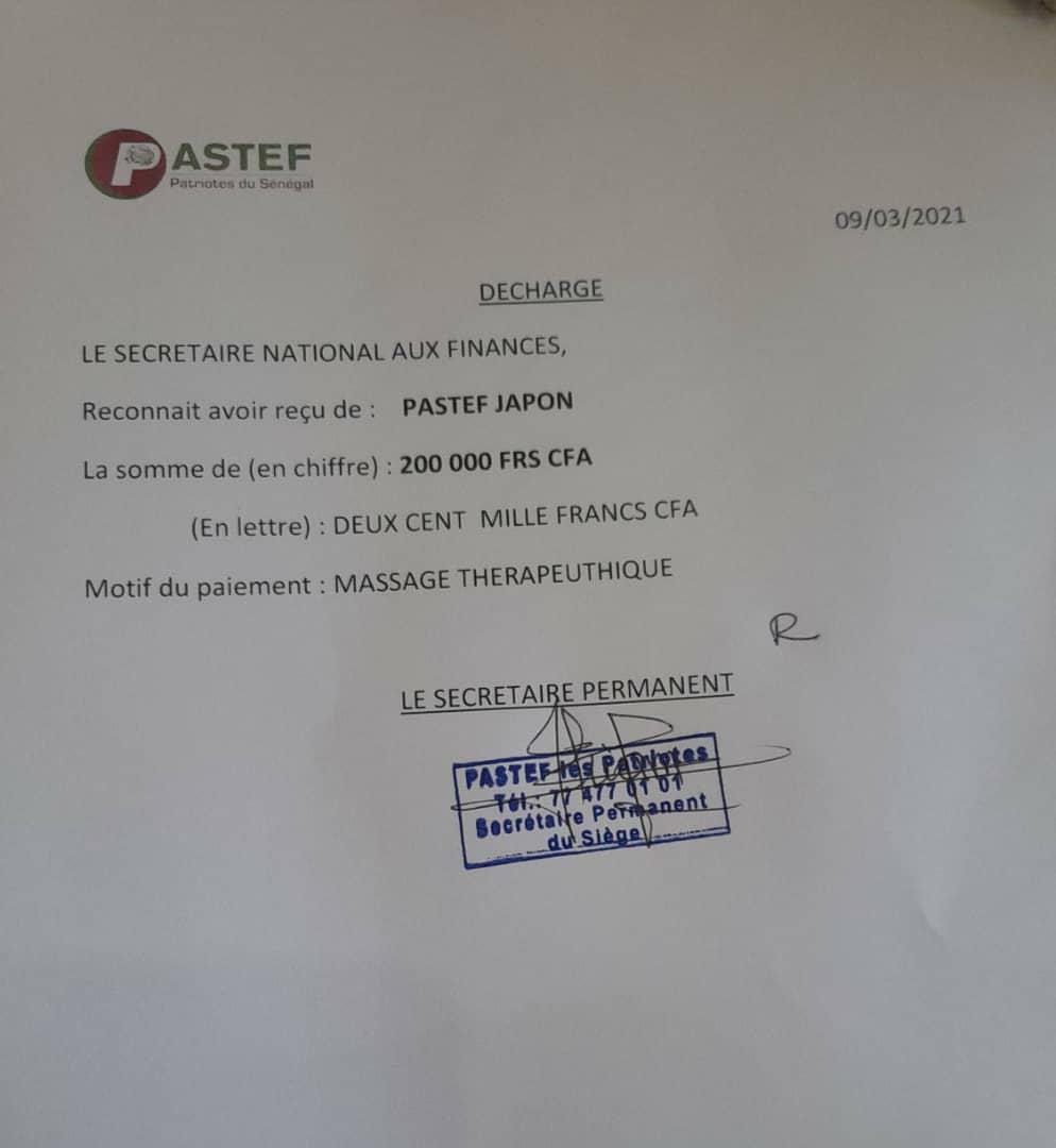 Les membres de Pastef Japon ont payé la première facture de massage thérapeutique de Ousmane Sonko