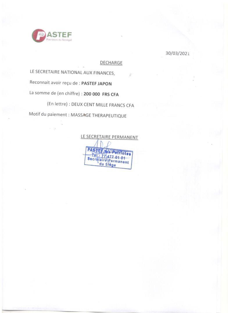 Pastef Japon a payé les frais d'une 2e séance de massage de Ousmane Sonko