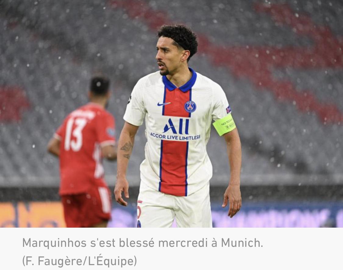 Marquinhos devrait manquer le retour entre le PSG et le Bayern