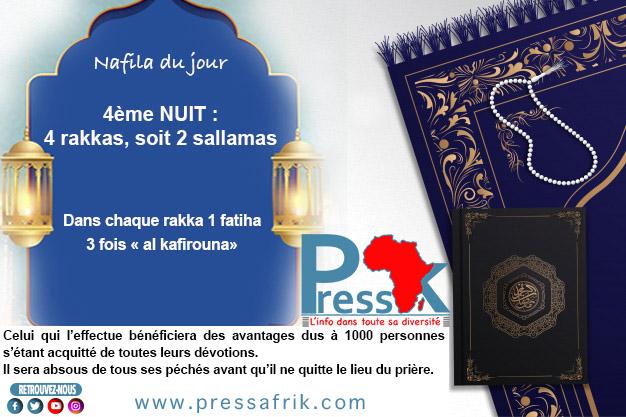 """Ramadan-Nafila de la 4ème NUIT : 4 Rakkas pour être """"absous de tous ses péchés avant qu'il ne quitte le lieu du prière"""""""